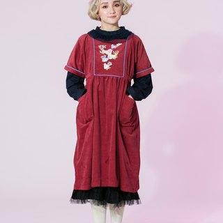 : EMPHASIZE chest flowers embroidered collar waist straps corduroy trapezoid knee dress - dark