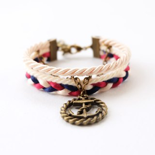 Circle Anchor layered bracelet in matte cream / navy blue / red wine pink