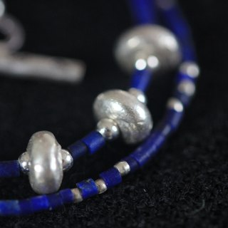 Flat sphere Silver beads with dark blue lapis lazuli braceletnecklace (B0023)