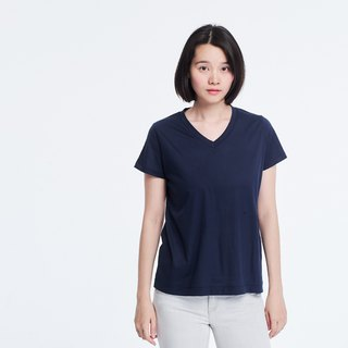 Mercerized Cotton Fabric Short Sleeves V neck T-shirt Top Navy