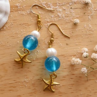 Cute & Beauty Adorable Blue Clear Resin with Pearl Dangle Earrings