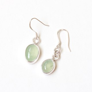 Grape Stone Asymmetric Sterling Silver Earrings Prehnite silver earrings