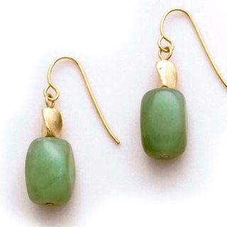 Spiral Beads and Apple Jade Earrings