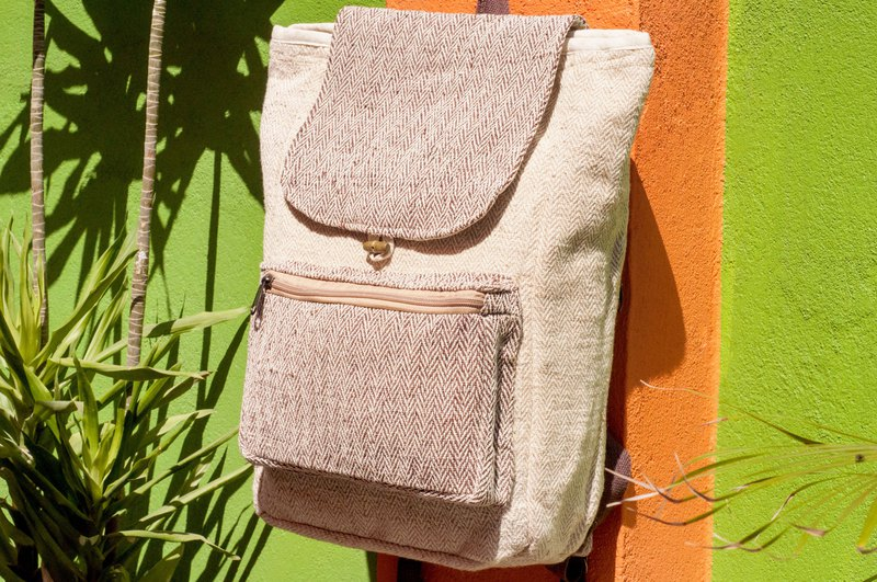 Cotton and linen stitching design backpack / shoulder bag / ethnic mountaineering bag / computer backpack - coffee forest hills