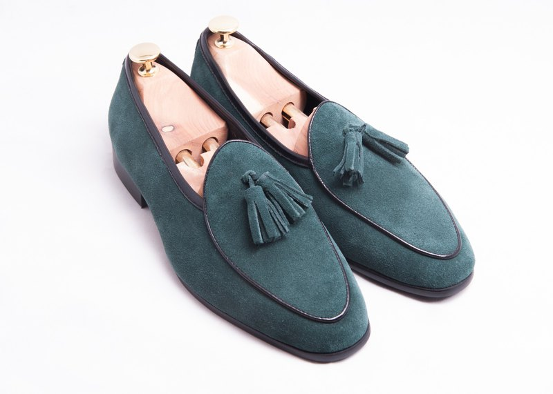 Genuine leather suede fringed Belgian loafers men's shoes leather shoes-green-E1B26-49