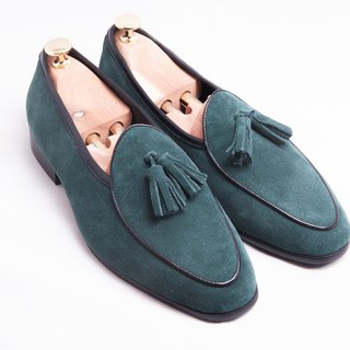 Leather suede tassels Belgium Lok Fu shoes men's shoes leather shoes - green - free shipping - E1B26-49