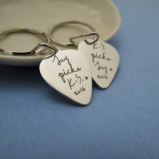 [customized] guitar pickup key ring (sterling silver lettering key ring) Valentine's Day gift