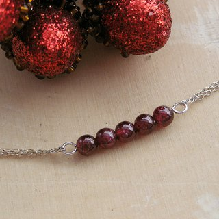 925 sterling silver with garnet bracelet design and handmade