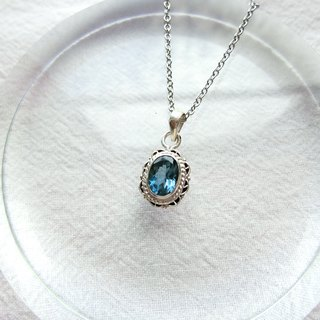 London blue topaz 925 sterling silver lace necklace Nepal handmade silver