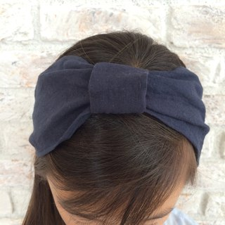 Linen Hair band- Navy