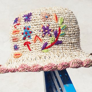 Mother's Day gift limited a hand-woven cotton / hat / hat / fisherman hat / sun hat / straw hat / straw hat - Boho rainbow embroidery flowers forest wind (pink)