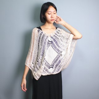 FOAK vintage Bohemian diamond hollow crochet blouse
