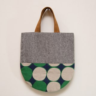 Japan wafting smell ㄦ - handmade cotton bag - Heather Grey x Blue and Green EH58
