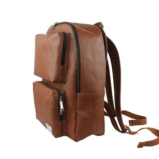 AMINAH-Brown multi-pocket backpack [am-0302]