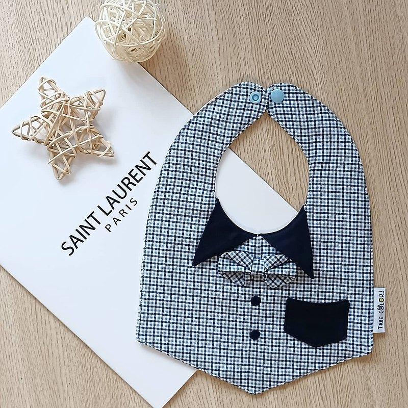 【小紳士圍兜系列C】 英倫風領結口袋六層紗圍兜 彌月禮盒 小禮盒
