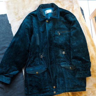 Ehime ink green spell corduroy shine light green time winter time antique cotton cotton coat coat