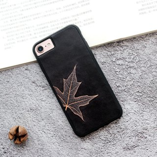 Black Maple Leaf iphone Leather Phone Case 6s 7 8 plus x xs max xr Customized