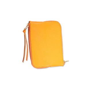 Double Sided Zipper Bag / Double Face / Genuine Leather / Yellow / S / Hand Limited