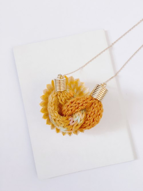 Knitted Knot Heart Necklace - Multi Yellow Ocher