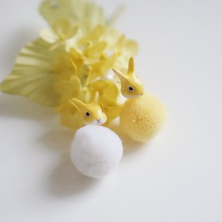 |Unicorn forest | Dairy rabbit fur ball pair of earrings / ear clip