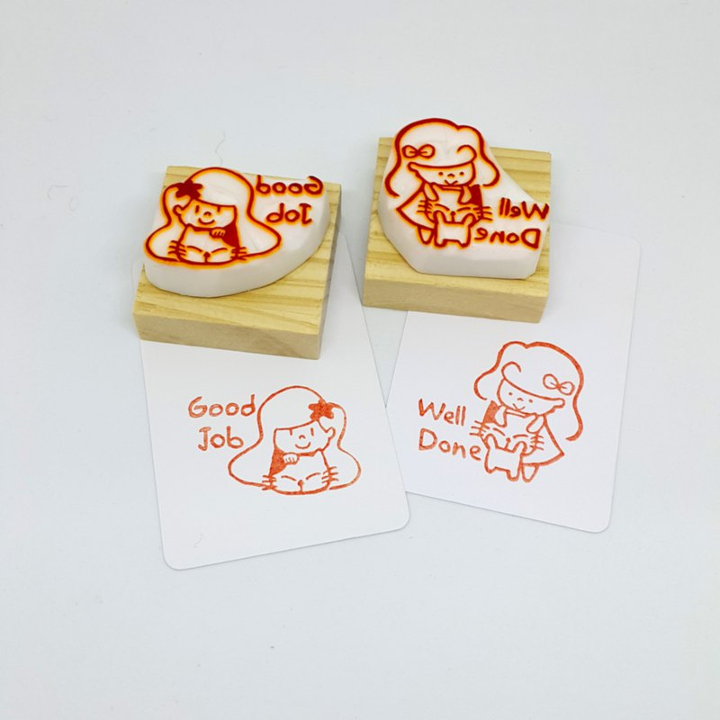[Handmade rubber stamp] Good Job / / Well Done (Girl Edition)