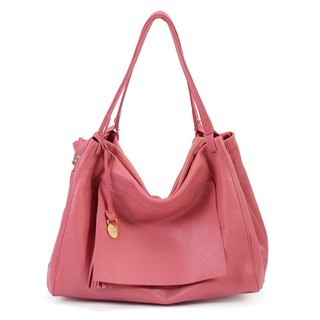 La Poche Secrete: French girl's handsome bag _ brewed cherry powder _ leather shoulder Messenger bag