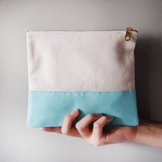 Suede stitching storage bag blue green