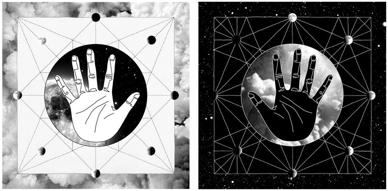 Hand of Paradox (A Pair) - Yin Yang series - Screen-Printed Art Work by Idlebeats