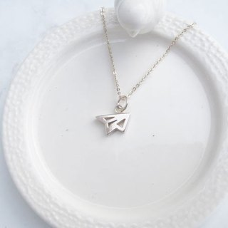 Big staff Taipa [handmade silver] three-dimensional small paper plane sterling silver necklace