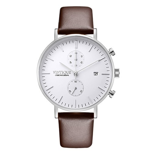 [Vintique] chronograph watch minimalist design sapphire glass steel stainless steel case leather strap CH-WS02