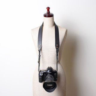 Wide leather black coffee camera strap