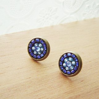 Deco tiles Earrings brilliant blue majolica mosaic vintage beads