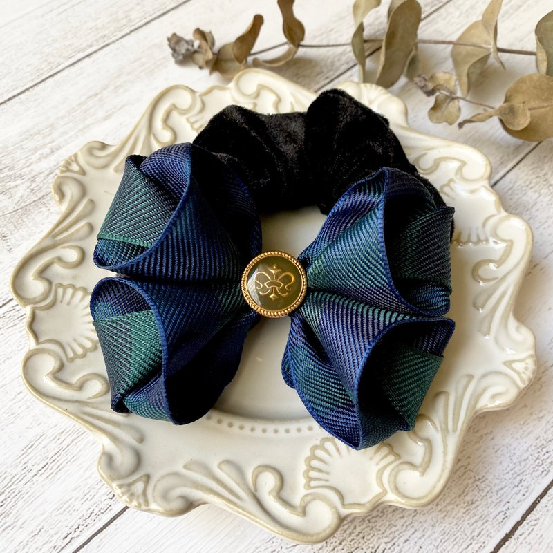 British College Wind Large Plaid Bow Bowel / Dark Green + Navy Blue