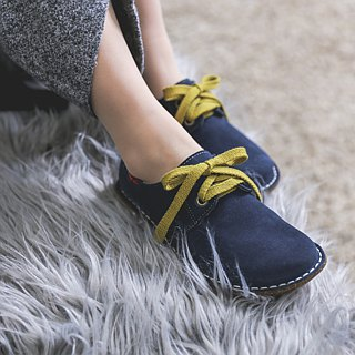 Japanese sweet suede big shoes _ deep blue