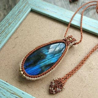 P26 Bohemian National Wind South American Wax Line Braided Labradorite Necklace Long Necklace