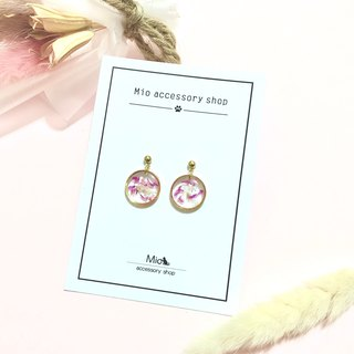 [Flower full moon] Peony pink peach dry flower series earrings (can be changed ear clip)