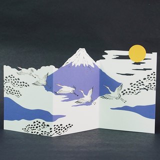 Fine carving Mount Fuji and crane [Hallmark - card classic wind / multi-purpose]