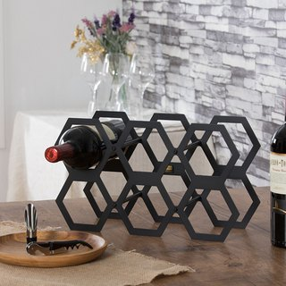(OPUS East Qi metalworking) rattan wine rack - classic black / honeycomb shape / metal home table / wine cooler decoration / living room wine decorations / wine bottle display / Valentine's Day gift / gift box WR-be08 (B)