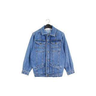 Back to Green Blue Green Natural Brush Four-Pocket Inner Baby Stripe Vintage Denim Jacket