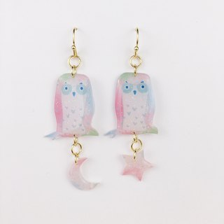 Owls, stars, moon, ears, ears, gold plated earrings.