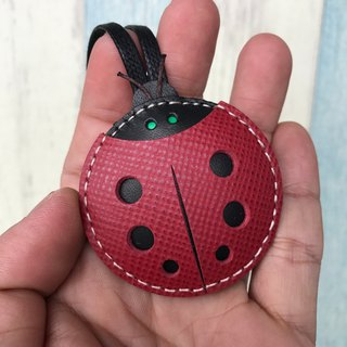 Leatherprince Handmade Leather Taiwan MIT Red Cute Ladybug Hand-sewn Leather Charm Small size small size