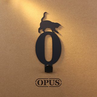 [OPUS Dongqi Metalworking] When the cat encounters the number 0 - hook (black) / wall hanging hook / storage without trace