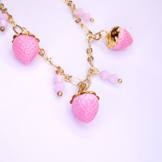 *Playful Design* Pink Strawberry Bracelet
