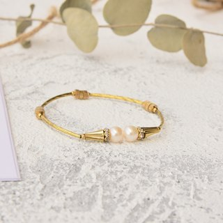 Vintage handmade natural stone brass bracelet double pearl ball