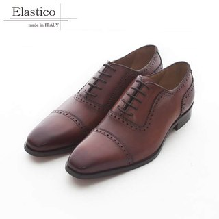 Elastico Italian classic cross-cut carved Oxford shoes #833 Caramel-ARGIS Japanese handmade