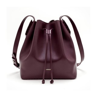 [ADOLE] laurel weave - leather bucket bag - wine red