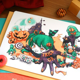 【Pin】Trick or Treat│Print│Halloween card with envelope at your choice