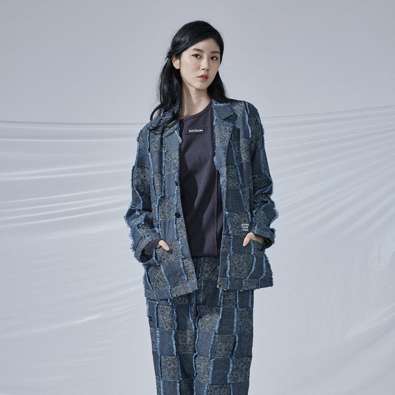 DYCTEAM - Plaid Jacquard Blazer 丹寧緹花3D格紋西裝外套