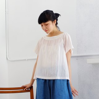 Pink Lace Collar Top - Stripes, Cotton, Japanese, Forest, Fresh, Embroidered