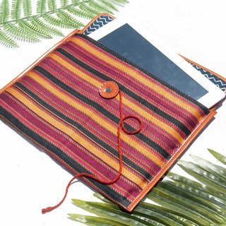 Hand stitching i-pad set tablet bag handmade leather case i-pad bag iPad leather case - orange stripes